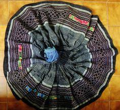 True Blue Hmong Batik Embroidery Wrap Skirt. $110.00, via Etsy.