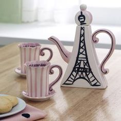 Eiffel Tower Tea Set: This tea set with Eiffel Tower motif includes teapot and two cups with saucers - Kettles & Teapots - Coffee & Tea - Sur La Table Coffee Time, Tea Time, 25th Birthday Wishes, Teapots And Cups, My Cup Of Tea, Oui Oui, Chocolate Pots, High Tea, Afternoon Tea