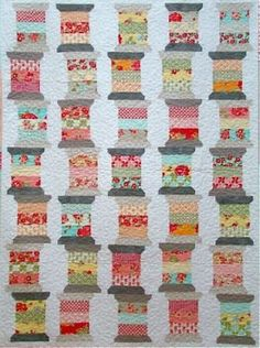another pinner said.......Vintage Spools Quilt- I love how they are 'stacked' up!