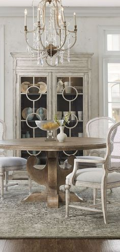 Farmhouse Dining Chairs: This dining chair option mixes different textures and graceful lines to create a stunning table-side option. Dining Room Design, Farmhouse Table Chairs, Farmhouse Dining Chairs, Dining Chairs, Furniture, Rustic Dining Room, Rustic Furniture, Comfortable Living Room Chairs, Farmhouse Dining Room