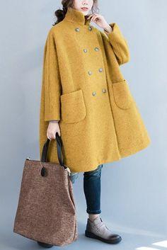 Wool Coat, Women's winter Coat, maxi Coat, Grass green Coat, Wool cape for women Mode Monochrome, Coats For Women, Jackets For Women, Grey Overcoat, Gray Coat, Yellow Coat, Color Yellow, Yellow Leather, Langer Mantel
