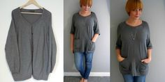 Makery: Refashion: Oversize Cardi to Tunic Sweater