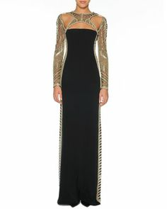Beaded Long-Sleeve Column Gown with Open Back by Emilio Pucci - Would feel like an extra on Star Trek or Stargate in this dress...