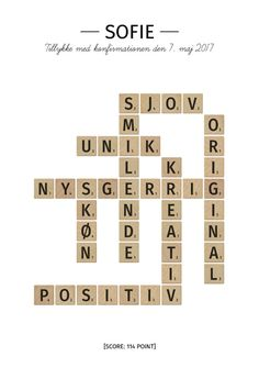 Scrabble plakat som konfirmationsgave
