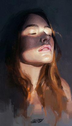 """Portrait study 3"" - Ibrahem Swaid {figurative art female head woman face portrait digital painting} saint-max.deviantart.com"