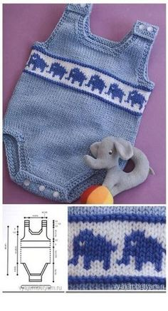 Overalls With Elephants Baby Crochet Kn Knitted Baby Knitting Patterns, Baby Sweater Patterns, Baby Clothes Patterns, Crochet Baby Clothes, Knitting For Kids, Baby Patterns, Crochet Patterns, Free Knitting, Baby Overall