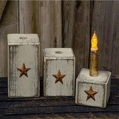 Set of 3 Primitive Country white wood block and star taper candle holders.
