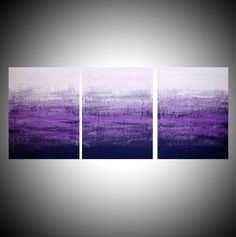 """triptych 3 panel wall art colorful images """"Purple Triptych"""" 3 panel canvas wall abstract canvas pop abstraction 48 x 20 """" other sizes available"""