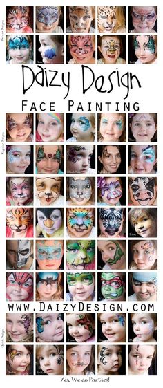 Check out this inspiring Children's Makeup For Halloween by New Zealand artist Christy Lewis and her Daizy Design Face Painting. Adorable animals and more..
