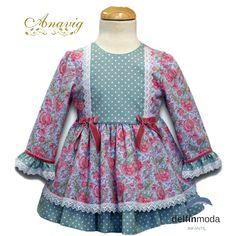 9d1e0b23f Comprar Vestido para niña de ANAVIG manga larga flores y topos