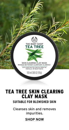 Use The Body Shop's Tea Tree Skin Clearing Clay Mask as a purifying face mask treatment for the skin. Due to the powerful antibacterial and healing properties of tea tree oil, the mask cleanses the skin and absorbs excess oil without over drying. The tea tree oil effectively works to battle blemishes and remove impurities. It instantly cools to soothe the skin. Suitable for blemish-prone skin, this mask helps to remedy your biggest skin care concerns. Click to purchase this mask!