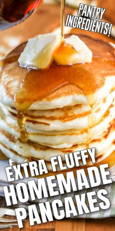 Fluffy Homemade Pancakes are easy to make from scratch and take no time at all! You just need pantry ingredients, eggs and milk! Once you see how quick (and delicious) it is to make pancakes from scratch, youll never buy a boxed mix again! What's For Breakfast, Breakfast Items, Breakfast Dishes, Breakfast Recipes, Yummy Pancake Recipe, Tasty Pancakes, Pancake Recipes, Buttermilk Pancakes, Pancake Recipe Ingredients