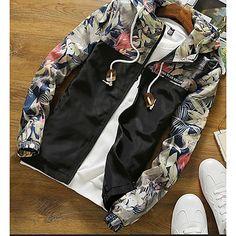 Grandwish Floral Bomber Jacket Men Hip Hop Slim Fit Flowers Pilot Bomber Jacket Coat Men's Hooded Jackets Plus Size ,