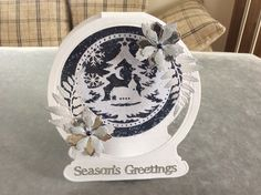 Tattered Lace Snow Globe Christmas Card