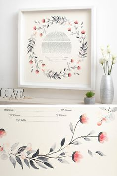 This Ketubah is unique and it will impress all the guests. It is Giclée printed on a fine art paper of the highest quality. The watercolor graphic is a gorgeous composition, perfect for your wedding. The Ketubah is a fine art piece, with a modern design. ♥♥♥ DIMENSIONS: ★ 15 x 15 inches (38.1 x 38.1 cm) ★ 18 x 18 inches (45.7 x 45.7 cm) ★ 20 x 20 inches (50.8 x 50.8 cm) ★ 22 x 22 inches (55.8 x 55.8 cm) ★ 24 x 24 inches (60.9 x 60.9 cm) Botanical Wedding Theme, Wedding Locations, Wedding Trends, Spring Wedding, Fine Art Paper, Wedding Bouquets, Giclee Print, Wedding Gifts, Modern Design