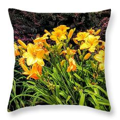 """Day Lilies Throw Pillow 14"""" x 14"""""""