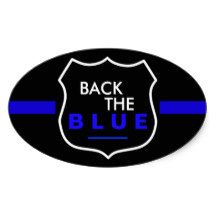 BACK THE BLUE OVAL GLOSSY STICKERS