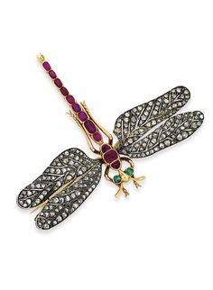 Lot 4, a dragonfly brooch dating from the late 19th century, looks real enough to flutter its wings (estimate: £5,000-7,000).