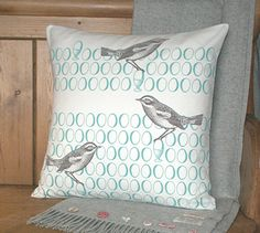Bird and Egg Cushion Cover / Throw Pillow Cover  UK by maisiev