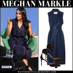 Meghan Markle in blue satin sleeveless wrap trench dress royal family #fashion #style