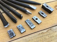 """An assortment of some of the most commonly used punches, chisels and fullers in one set. Made from 5/8"""" diameter O1 Tool steel and are approx. 7.25"""" inches in l"""