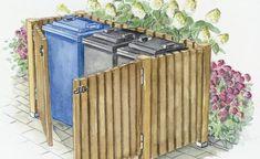 Rustikale Mülltonnen-Verkleidung aus Zaunelementen