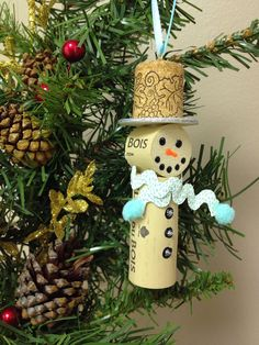 Snowmen Wine Cork Ornaments