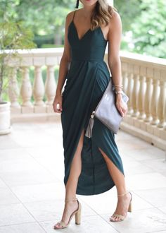 draped maxi dress / wedding guest style / Southern Style / green dress