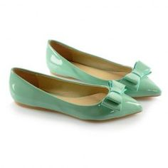 $21.65 Sweet Style Casual Women's Spring Flat Shoes With Candy Color Patent Leather and Bow Design
