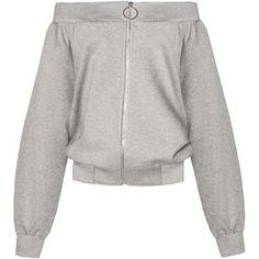 Ring Zipper Off The Shoulder Sweatshirt ($96) ❤ liked on Polyvore featuring tops, hoodies, sweatshirts, outerwear, zip sweatshirt, zipper top, white off shoulder top, zipper sweatshirt and white sweatshirt