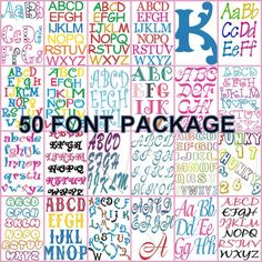 50 Machine Embroidery design Fonts on cd (50 SETS) script,swirl,childlike fonts, pes, 4X4 brother, great GIFT OR starter embroidery package