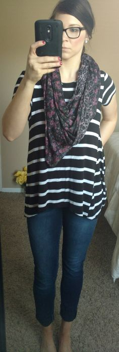 Style by Melissa Ann // Bold stripped top + pattern scarf + glasses
