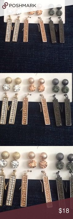 New 9 pairs earrings bar stud rhinestone New. Gold tone, rose gold tone, and black/gray colors. 3 pairs fashion bar earrings about 1.5 inches and 6 pair stud earrings. $2 per pair. Sold as set only. Bundle with other items for discount. Jewelry Earrings