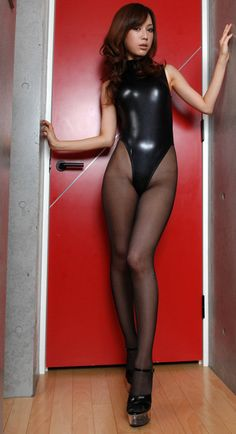 Sexy Asian girl wearing black latex leotard and sheer black #pantyhose #FOP