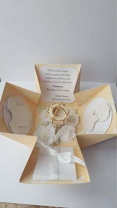 White/ Beige Christening day/ Baptism Exploding box/ Card box, GIFT