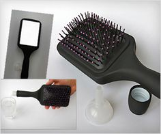 It is a hair brush with #mirror on one side and hidden #flask for water or drink - #women gear