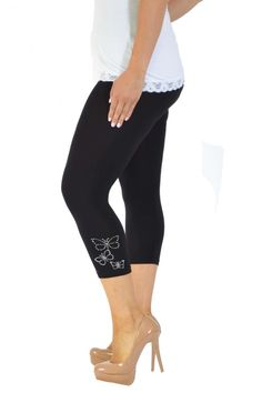 Embellished Butterfly Foil Cropped Leggings - Black Plus Size Leggings, Black Leggings, Size Clothing, Plus Size Outfits, Large Size Clothing, Plus Size Fashions, Plus Size Clothing, Plus Size Dresses