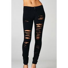 High Waisted Light Denim Ripped Skinny Jeans ($40) ❤ liked on ...