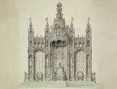 Design for the gold canopy, throne and consorts' chairs in the House of Lords Chamber, Houses of Parliament, London, 1846  Drawing  Artist and designer: Augustus Welby Northmore Pugin