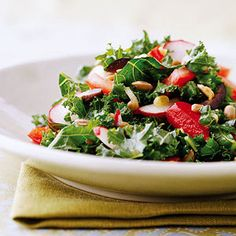 Kale Salad with strawberries and olives
