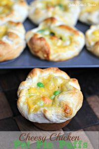 Cheesy Chicken Pot Pie Puffs ~ Grands Biscuits loaded with Chicken, Cheese, & Mixed Veggies!  on MyRecipeMagic.com