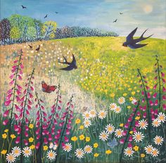 Butterflies and Swallows - Jo Sonja Acrylic paint on a 60 x 60cm canvas. (SOLD)
