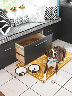 Stylish Storage — A window seat does double duty when it contains storage under the cushions. The depth makes it a good spot for large quantities or bulky items. Here, big bags of dog food are easy to access at dinnertime.