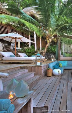 North Island Resort…a stunning locale for celebrating two-some-things! North Island Resort…a stunning locale for celebrating two-some-things! Tropical Houses, Tropical Paradise, Tropical Decor, Outdoor Spaces, Outdoor Living, Outdoor Decor, Living Haus, Island Resort, Beach Themes