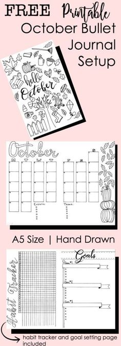 October Bullet Journal Setup: Free Printable I like the Goals layout and breaking into smaller tasks w/deadlines Bullet Journal Inserts, Bullet Journal Page, Bullet Journal Printables, Bullet Journal How To Start A, Bullet Journal Inspo, Printable Crafts, Free Printables, Planners, Best Travel Journals