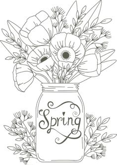 Adult Coloring Pages - Spring Flower Coloring Pages Best Of Spring Mason Jar Floral Coloring Page Flower Coloring Sheets, Colouring Sheets For Adults, Printable Flower Coloring Pages, Coloring Pages For Grown Ups, Spring Coloring Pages, Easter Coloring Pages, Printable Adult Coloring Pages, Cute Coloring Pages, Disney Coloring Pages