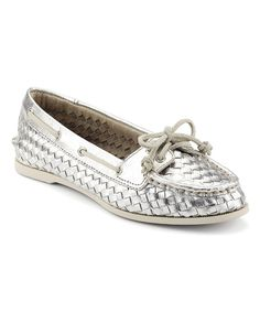 Silver Audrey Woven Leather Boat Shoe