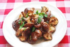 """Simple baked shiitake mushrooms. """"Shiitake mushrooms have an intense, earthy flavor, beautifully highlighted here by a simple olive oil-vinegar dressing."""""""