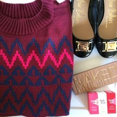 Burgundy sweater Timeless classic, the Plus Size Pullover Sweater is a beautiful choice when there's a chill in the air. This versatile sweater looks great paired with your favorite jeans but can also add a preppy, girlish twist to a skirt, tights and ballet flats. Featuring a classic zigzag print, crewneck collar and a flattering hip-length cut, this top is sure to be a favorite. Marked as 1x 16/18. I'm modeling as 18/20. New with tags. Ava & Viv Sweaters Crew & Scoop Necks