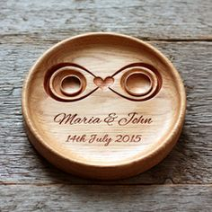 Handmade Custom Wood Wedding Ring Holder (Infinity), Ring Bearer Pillow Alternative, Ring Plate, Ring Dish